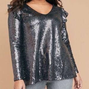 Lane Bryant sequin cold shoulder blouse top 26
